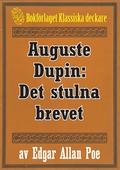 Auguste Dupin: Det stulna brevet – Återutgivning av text från 1938