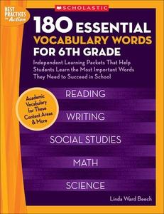 180 Essential Vocabulary Words for 6th Grade (e