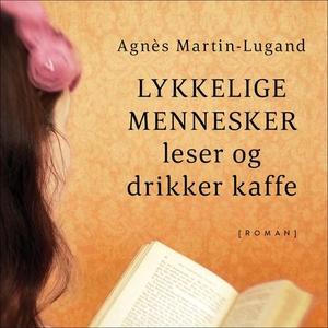 Lykkelige mennesker leser og drikker kaffe (l